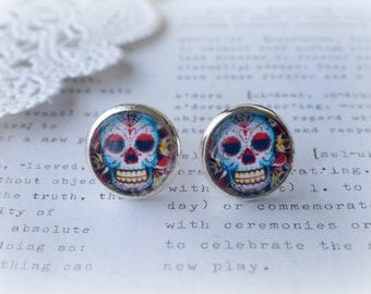 Round Glass Day Of The Dead Skull Stud Earrings