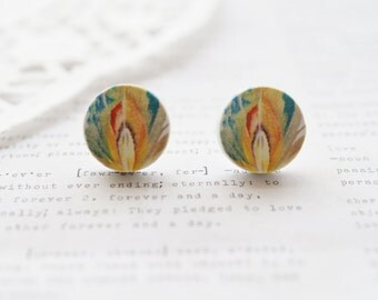 Wooden Round Colourful Feather Stud Earrings