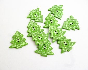 Christmas tree button green xmas supplies printed buttons embellishment