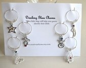 Sale Black Friday/Cyber Monday Sale Christmas Wine Charms Set of Six