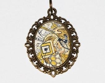 Samurai Jewelry, Ukiyo-e, Japanese Woodblock Art, Edo Period, Samurai Necklace, Oval Pendant