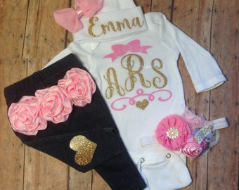 baby, girl, take home outfit, girl, coming home outfit, baby girl take home outfit, hospital outfit, newborn girl outfit, monogram, clothes