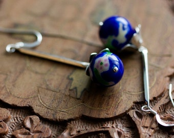 Vintage Floral Bead Dangle Earrings Blue Pink Floral Bead Earrings Long Stick Skinny Bar Dangles Sterling Silver Vintage Jewelry - E324