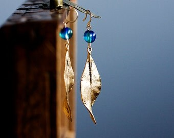 Blue Drop Leaf Earrings Mother's Day Gift Simple Leaf Dangle Earrings Gift for Mom Gift for Her Leaf Jewelry Feminine Earrings - E312