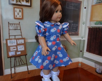 Vintage style 1930s or 1940s dress for American Girl or similar 18 inch doll.