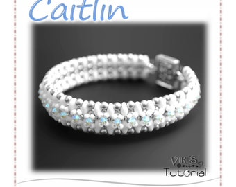 Bracelet Tutorial with Super Duo beads: Caitlin ( INSTANT DOWNLOAD PDF)