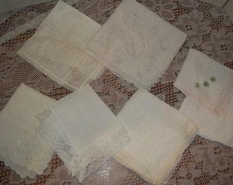 7 lot collection Vintage white wedding  Hankies 2 Monogram B hankerchiefs, hanky group, Nice condition