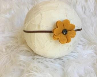 Flower Headband, Newborn Felt Flower Headband, Newborn Photography Prop, You Choose Your Color, Baby Headband
