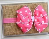Baby Bow Headband - Pink Bow Headband - Hot Pink Bow Headband - Newborn Bow Headband