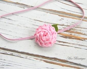 Pink Flower Headband, Baby Headband, Infant Headband, Newborn Pink Headband - Baby Pink Headband
