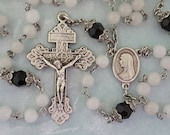 Rosary, Snow Quartz, Black Crystal, Madonna Cameo, Pardon Crucifix, Vintage Style, Strong, Stainless Steel, Handcrafted, Gemstone Rosary