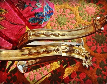 Ormolu Drape Supports, French Chataeu Vintage,Decadent Grandeur, Gilded Curtain Rod Supports, Vintage Drape Pole Supports SALE now 189.00