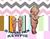 Kewpie Doll Angel Digital Paper Pack, Clipart Included,  Kewpie Doll Angel Image, Kewpie Doll, Kewpie Doll Template, Angel Kewpie Cutout
