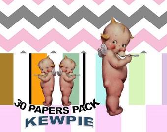 Kewpie Doll Angel Digital Paper Pack, Clipart Included,  Kewpie Doll Angel Image, Kewpie Doll, Kewpie Doll Template, Angel Kewpie Cutout