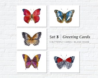 Watercolor Butterfly Greeting Cards, Set 3, Five Different Butterflies, 5x7, blank inside, Gift for butterfly lover