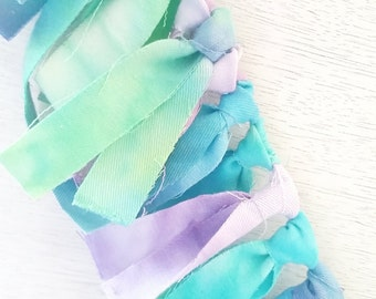 Tie Dye Fabric Bunting in Ocean Blues