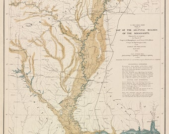 1861 Map of the Alluvial Region of the Mississippi
