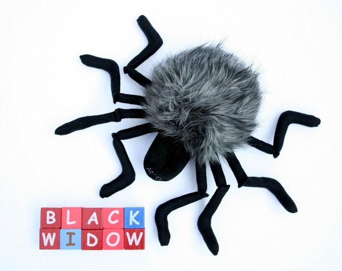 Black Widow Spider - Halloween Plush, Plushie Spider, Stuffed Animal, Funny Soft Toy