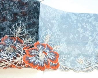 Black Orange Lace Trim, Orange Blue Flowered Black Lace, Black Floral Print Lace, Lingerie, Lace Fashions, Lace Decor