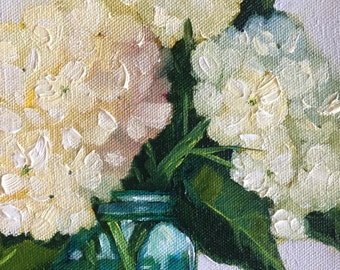 Original oil painting:  Hydrangeas in Blue Jar  deep canvas, floral, small painting, kitchen art