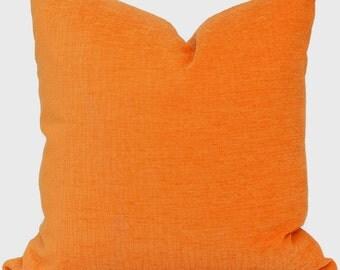 Orange Velvet  Decorative Square, Euro or Lumbar Pillow Cover, Accent pillow, Toss pillow, Throw pillow
