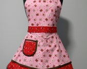 SALE-Valentines Apron-Womens Apron-Valentines Love Stamps Double Skirt Sweetheart Apron
