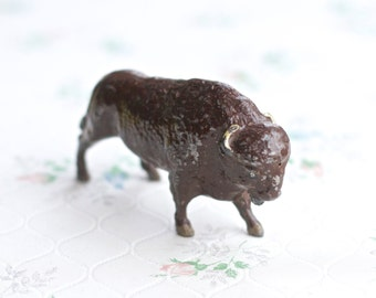 Lead buffalo - Antique Iron Cast Wild Animal Toy Figurine - Made in England - J Hill Co