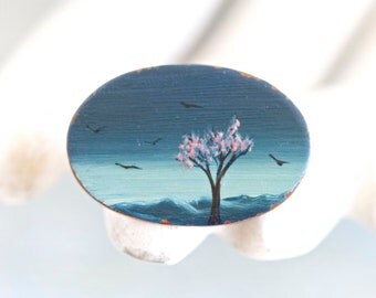Micro Painting Lapel Pin - Cherry Blossoms Tree Against a dark blue Sky - Miniature Landscape Brooch