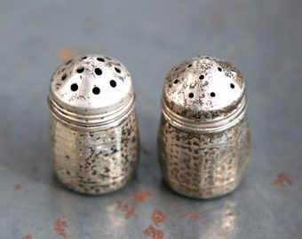 Small Salt and Pepper Shaker - Antique Sterling Silver Condiment Dispenser - Oxidized with Patina