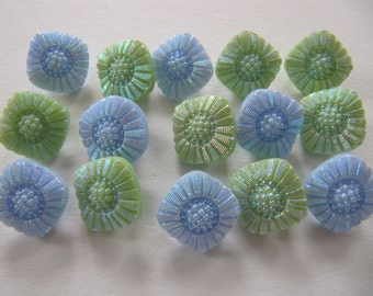 15 glass flower buttons, blue and green iridescent square glass buttons, 12 mm vintage 1950's German glass buttons, self shank glass buttons