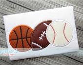 Sports Ball Trio Applique Design Machine Embroidery INSTANT DOWNLOAD