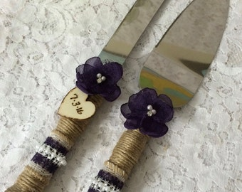Rustic Wedding cake knife, Burlap knife set, Cake cutting set, Rustic wedding,Vintage Knife Set,YOUR CHOICE COLOR,Eggplant Wedding Knife