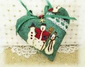 "Christmas Heart Ornament 5"" Green with Snowman Print Christmas Heart Door Hanger Handmade Handmade CharlotteStyle Decorative Folk Art"