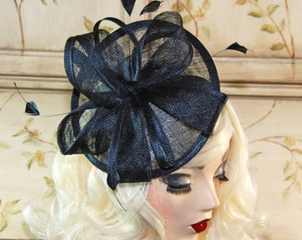 Black fascinator Hat - Black Kentucky Derby Hat - British Tea Party Fascinator, Wedding Hat, Fancy Mini Hat, Church Hat