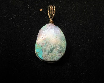 Turquoise, King's Manassa, Pendant brass wire wrap 37ct