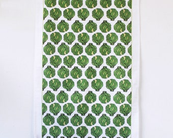 Brussel Sprout Tea Towel -Christmas tea towel - cooks gift - bakers gift - kitchen towel - dish towel - 100% cotton - kitchen textiles