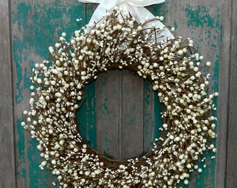 Cream Everyday Wreath - Four Season Berry Wreath - All Season Wreath - Door Wreath - Choose Ribbon and Size-Mother's Day Gift