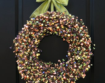 Spring Wreath - Outdoor Wreath - Berry Wreath - Easter Wreath - Multi Color Wreath