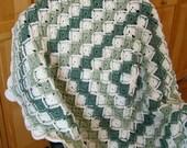 "Barvarian crochet afghan 50"" x 50""  Aran & sage"