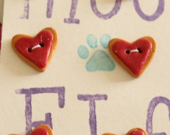 Heart shaped, hand made buttons. x 6. 17mm x 15mm Polymer Clay