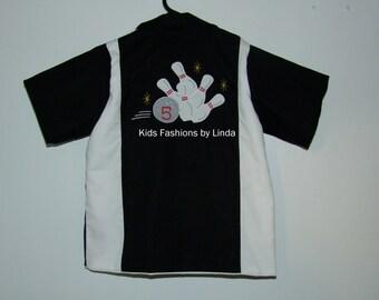 Personalized Birthday Black/White Bowling Shirt with Bowling Pins/Ball