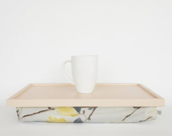 Pastel yellow and grey magnolia print pillow tray, Breakfast Serving tray - light peach tray with thick cotton pillow