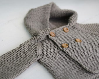 Spring SALE Knit Baby Sweater Organic Hooded Coat Newborn to 2 Years Sizes
