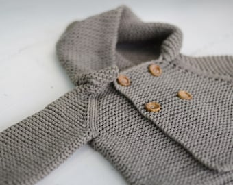SALE Hooded Baby Sweater Cardigan Toddler Coat Organic Children Clothing Eco Hand Knit Jacket Coat for Babies