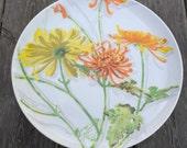 Vintage 70's Mann Cake Pedastal Plate Chrysanthemums