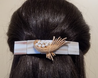 Barrette Extra Large/ Barrette for Thick Hair/ white and gold color clip