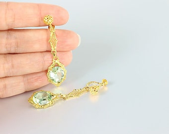 Antique Art Deco Earrings, Peridot crystal earrings, screw back filigree earrings, open back crystal