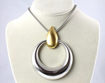 Trifari Modernist Necklace, Vintage Jewelry Articulated Silver Gold Dramatic Necklace