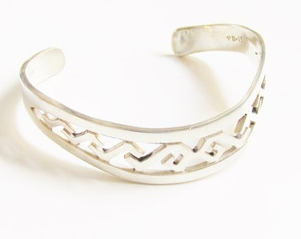 Vintage Sterling Cuff Key Design Bracelet Taxco Mexico 925