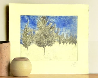 Original Etching Print MORNING IN VERMONT Tree Landscape Woodland Burin Printmaking Fine Art Print Cottage Wall Decor Home 15x14